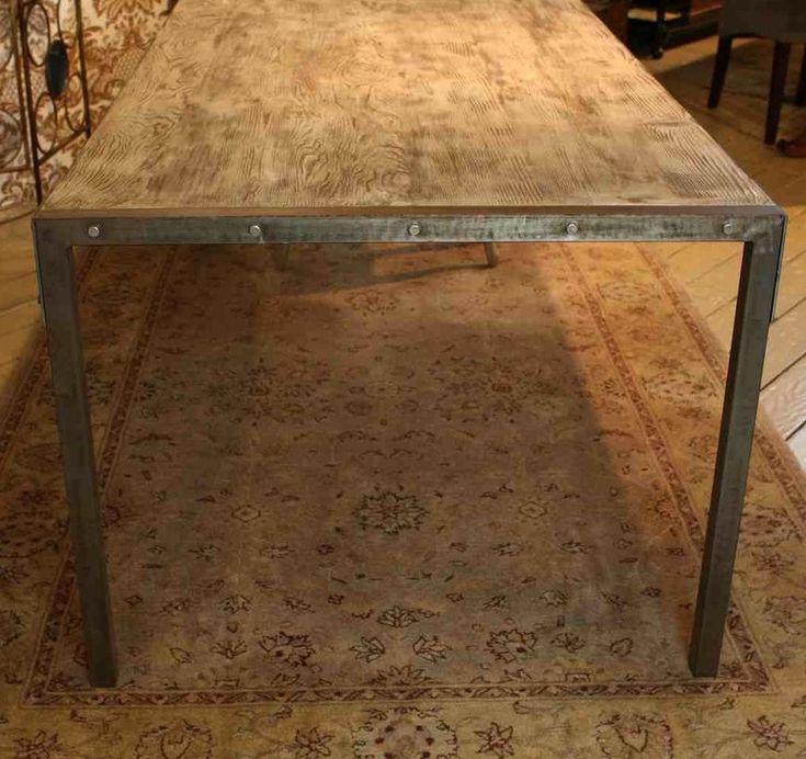 Custom Made Urban Dining Table-Reclaimed Wood Top-Distressed Metal ...