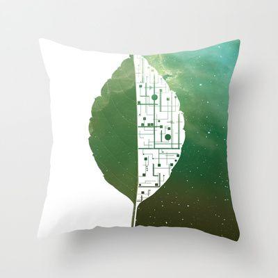 BIONIC LEAF Throw Pillow by ARCHIGRAF - $20.00