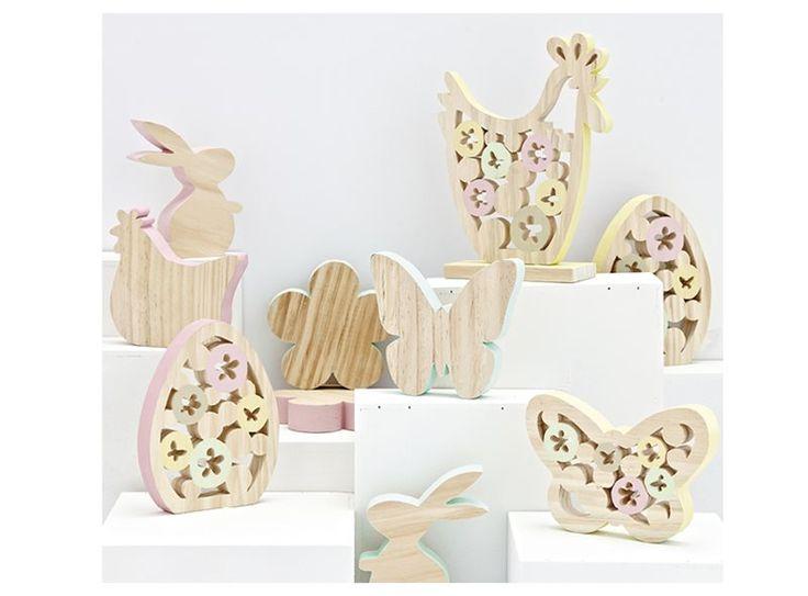 Kleed je paastafel aan met deze mooie houten paasfiguren! Ze zijn verkrijgbaar in verschillende vormen, en in roze, geel en blauw!