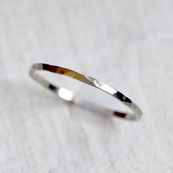 14k gold wedding ring thin hammered band by PraxisJewelry on Etsy, $84.00