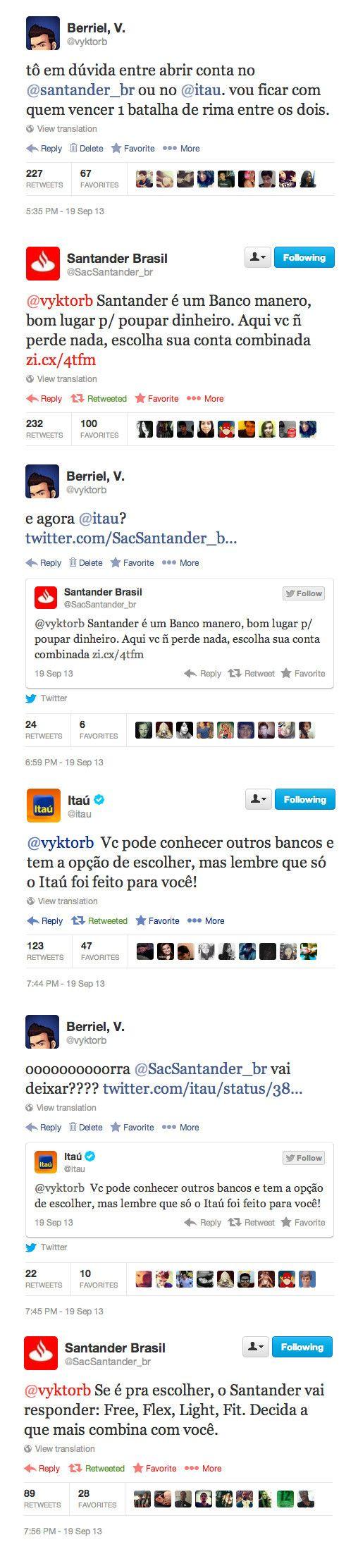 Banco Itaú e Santander entram na discuta musical para conquistar cliente no Twitter.