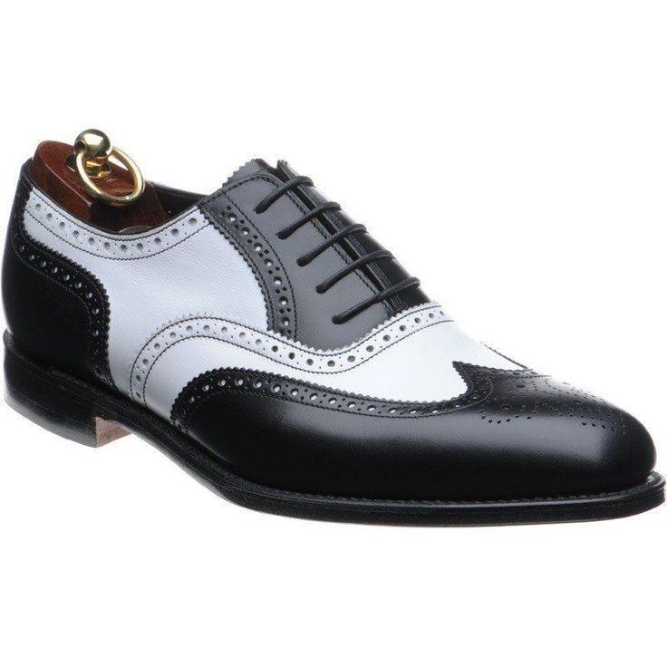 Mens Formal Shoes, Men Black Wing Tip Two Tone Spectator Shoes, Mens Dress shoes #Handmade #WingTip