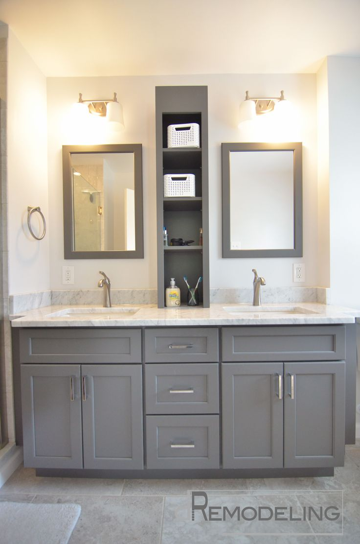 double wall mounted rectangle mirror frames over double gray vanity and white marble top as well as wall light fixtures in small space bathroom designs