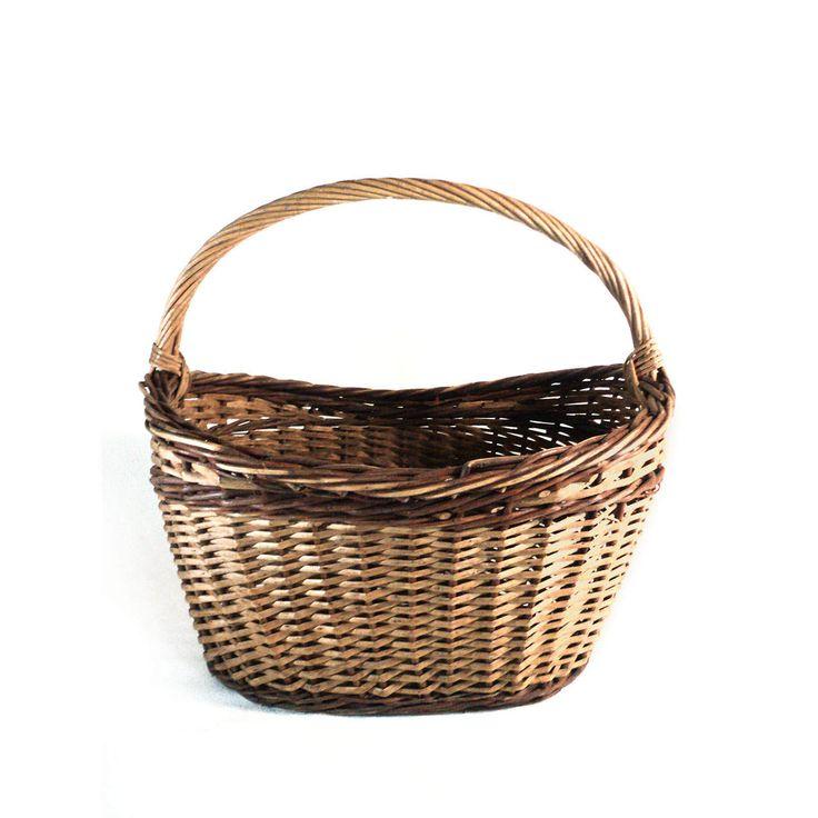 French Wicker Basket, Rustic Hand Crafted Flower Gathering Garden Basket, Wire Woven Storage Basketwork