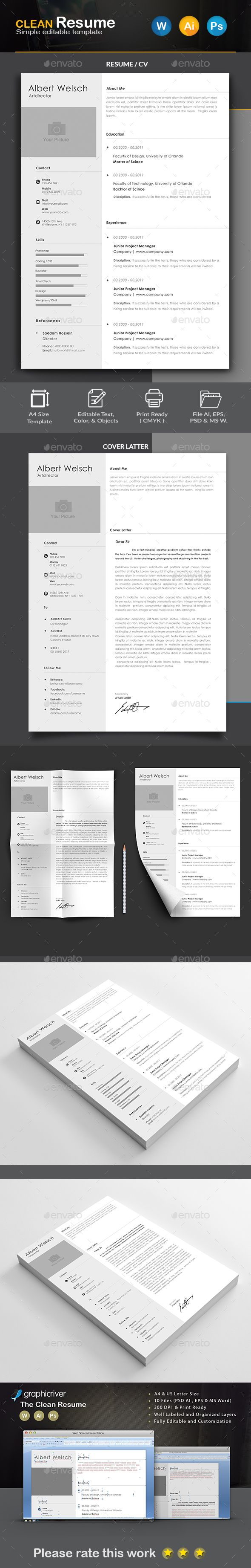 Functional Resume Template Microsoft%0A Clean Resume by Createart PRODUCT FEATURES A  Size     DPI u     Print ReadyCMYK  Color      in