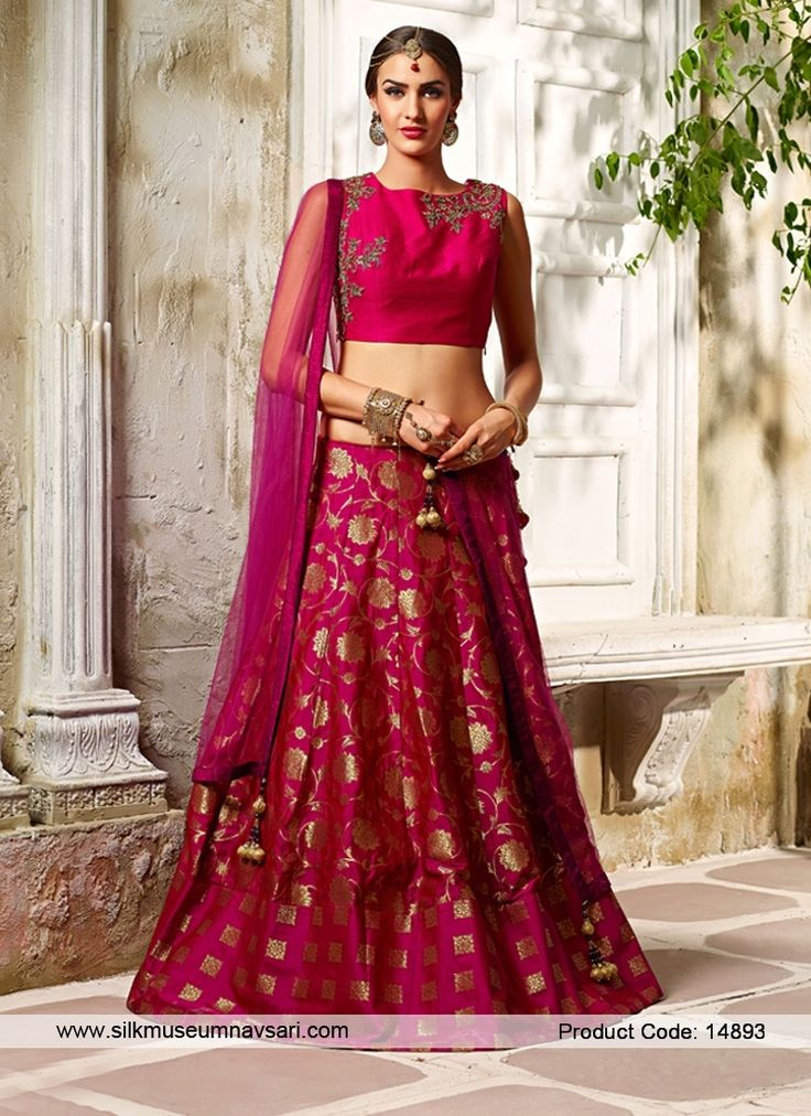 Lovely Banarasi silk Cut Dana Magenta Lehenga Choli