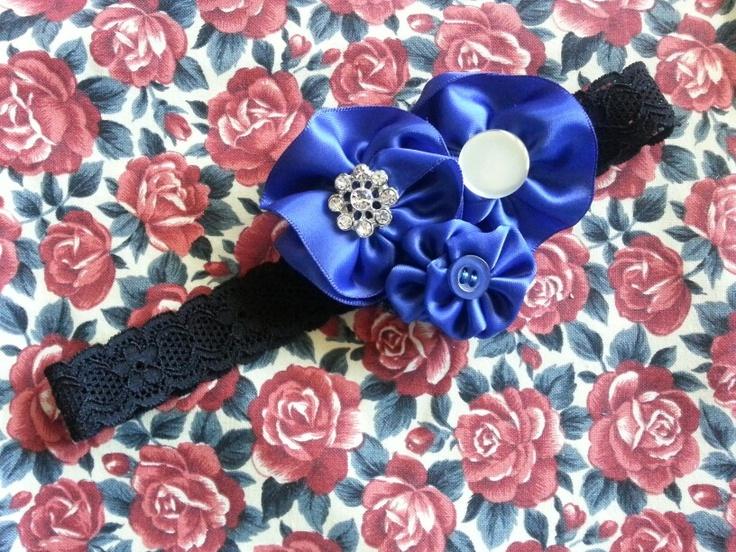 One of my creations, Blue ribbon flower headband.