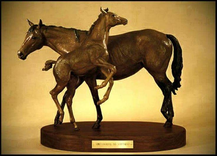 1987 bronze of Somethingroyal and Secretariat.