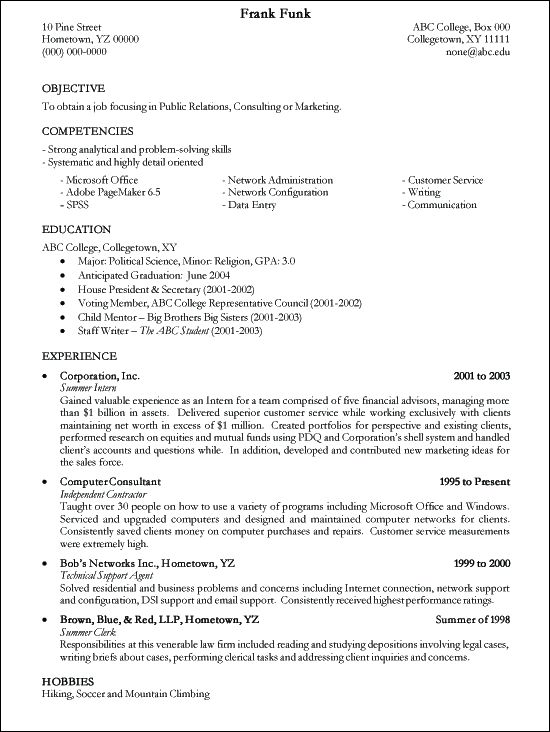 sample of resume writing