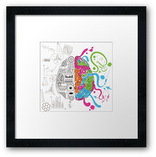 Brain Creativity Illustration by Gordon White | Creative Brain Chemistry Bright White Framed Print Available in Small @redbubble @redbubblecreate  ---------------------------  #redbubble #sticker #brain #creative #creativity #chemistry #nerd #geek #cute #adorable #frame #print #framedprint #wallart  ---------------------------  http://www.redbubble.com/people/blackbox23/works/23716610-creative-brain-chemistry?asc=u&p=framed-print&rel=carousel