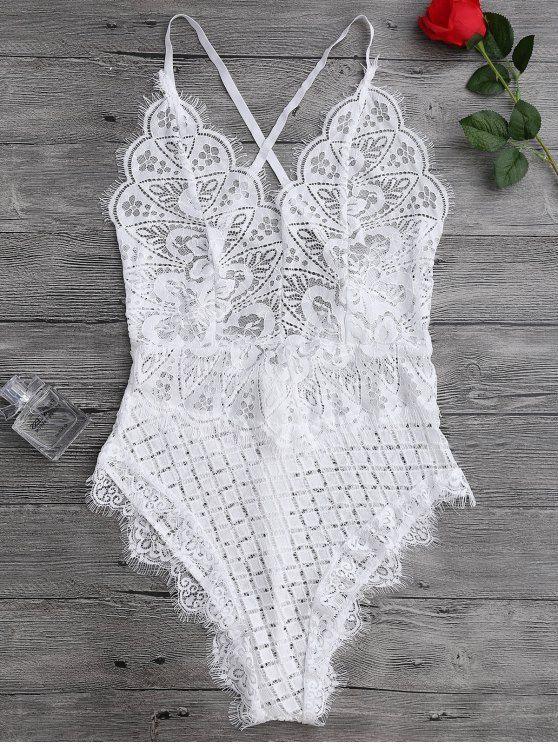 $14.74 Scaolloped Sheer Eyelash Lace Teddy Bodysuit – WHITE M