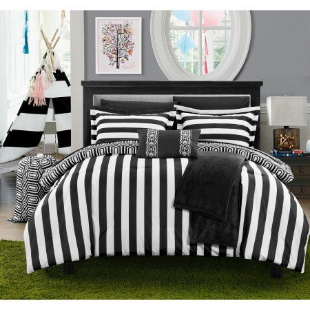 10-Piece Nantes Geometric and Striped Printed Reversible Comforter Set, Black