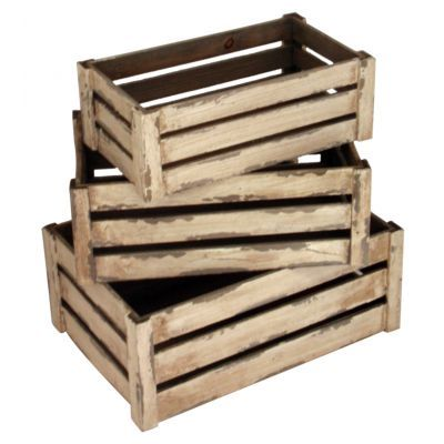 Wood wooden old rustic shabby chic crates set of 3