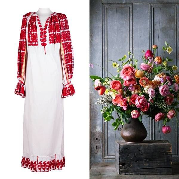 An old, vintage piece of traditional Romanian costume. Colorful and unique! #traditional #vintage #handmade #unique #fashion #style #colorful #dress #flowers #women #design #brand #special
