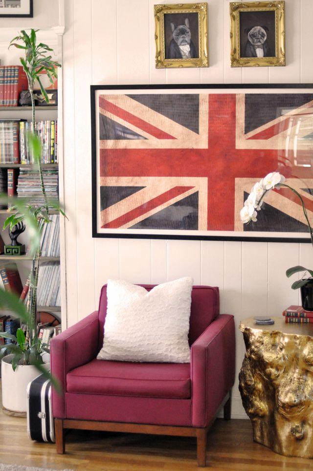 Home Decor Union Jack Flag Print Vintage Modern Chairs Gold Stump Side