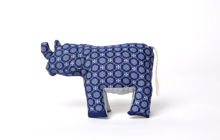 shweshwe printed rhino - blue - large
