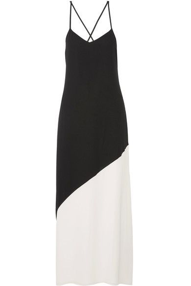 Alice Olivia - Maggie Two-tone Crepe Maxi Dress - Black - US12