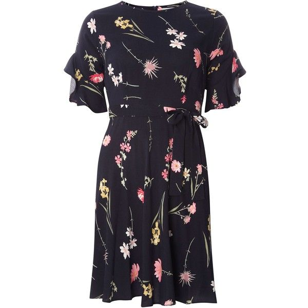 Dorothy Perkins Petite Floral Tea Dress featuring polyvore women's fashion clothing dresses women dresses tea party dresses floral print dress petite dresses blue tea dress navy floral dress