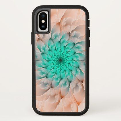 Beautiful Peach Blossom Turquoise Fractal Flower iPhone X Case - flowers floral flower design unique style