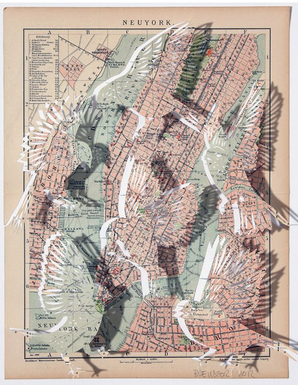 birds map paper cut Claire Brewster via The Jealous Curator