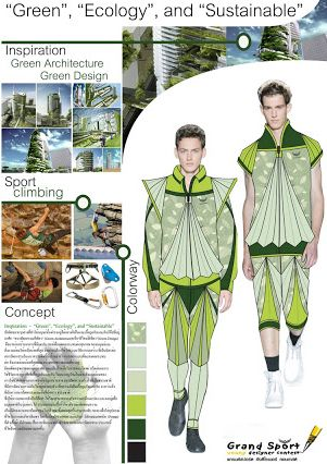 "7 th Grand Sport Young Designer Contest 2011 #KMITL  Architecture and design major, Faculty of Industrial Education, King Mongkut Institute of Technology Ladkrabang. Entry: ""Green, Ecology and Sustainable"" mountain climbing wear inspired by green architecture.   Designer by Mr.Sanya Klomkled of Thailand"