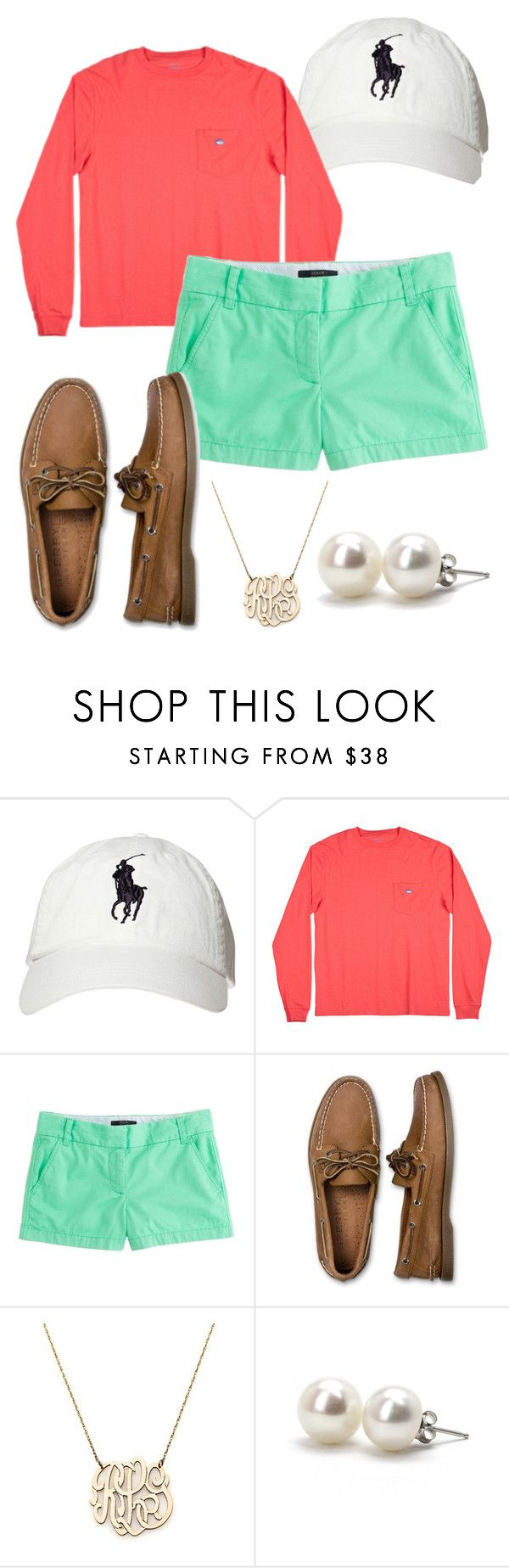 """Country Club Prep."" by smorrisonn ❤ liked on Polyvore featuring Polo Ralph Lauren, J.Crew, Sperry, Moon and Lola, Bounkit, country, casual, preppy, jcrew and pearls"