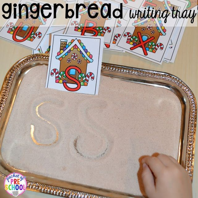 Gingerbread activities and centers for preschool, pre-k, and kindergarten (STEM, math, writing, letters, fine motor, and art)