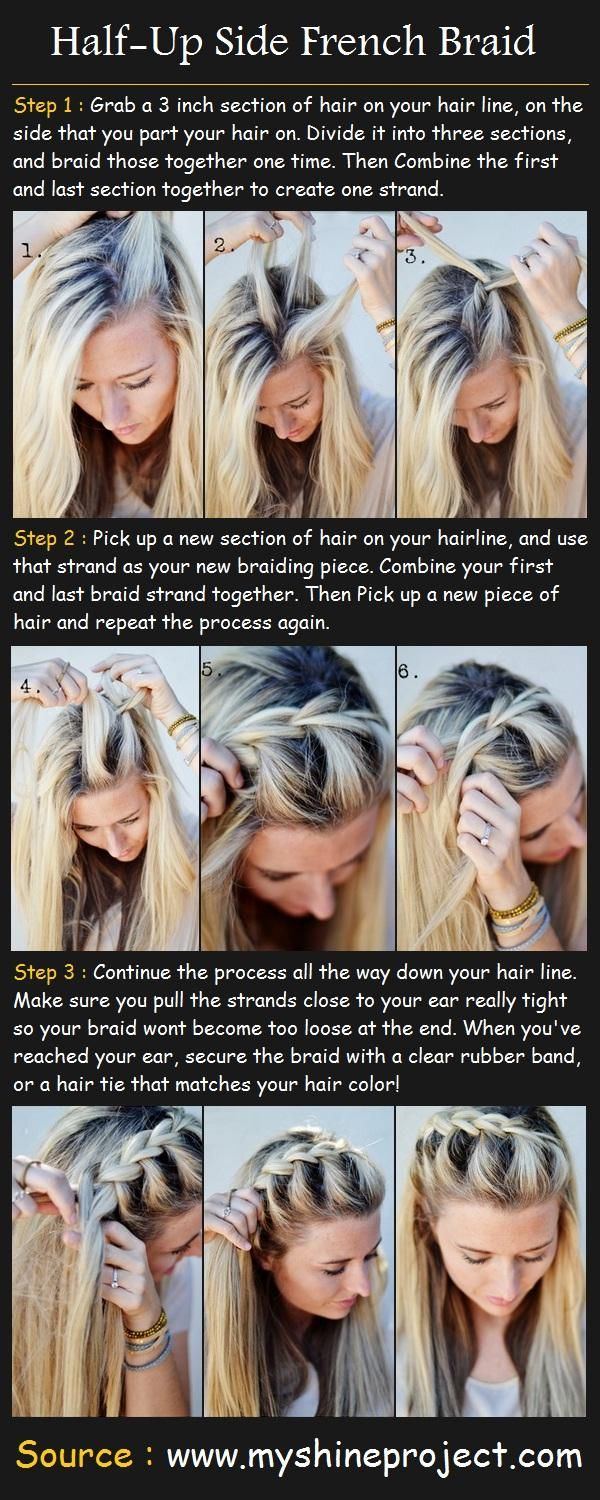 "half up side french braid tutorial. Just did this with a side part and ""bottom only"" additions and joined both sides in the back and it's awesome!! ~RaeAnn :0)"