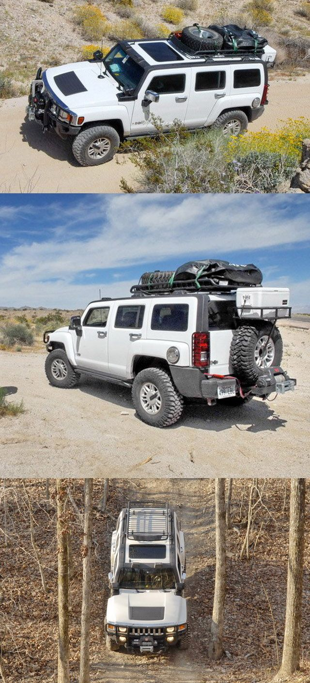 This Hummer is outfitted with the Rola Roof Mounted Cargo Basket - the basket is useful for transporting gear and equipment while traveling on the road! This would be a great gift idea for the dad that loves their Hummer!