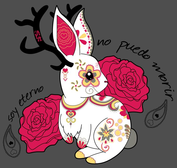 """Husband was playing """"Red Dead Redemption"""" and little bunnies kept hopping across, and my doodle of a rabbit morphed into a rabbit with antlers, which is a Jackalope (which is definitely not real.) ..."""