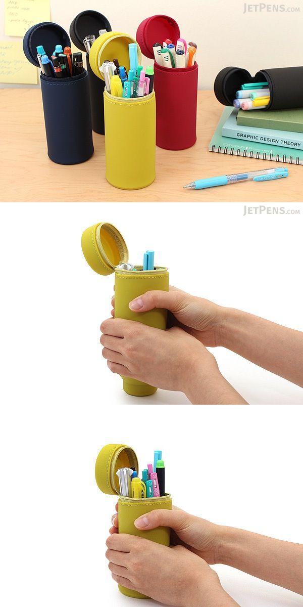 """Winner of the ISOT 2016 grand prize for functionality, this innovative telescoping case transforms quickly and easily into a pen cup for your desk. Use it for carrying pens, cosmetics, and other accessories up to 6.5"""" (16.5 cm) long."""
