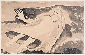 Child of the high seas by Joy Hester (1958) - This work was inspired by Jules Supervielle's short story of the same name. The lines of the floating child's face and hair are drawn with the lightest touch of the pen and ink, the waves brushed with the subtlest washes. One enlarged hand reaches up to touch the ocean. The poetic implications of the story- a realm hovering between life and death, time and timelessness – continued through Hester's work in the fifties.