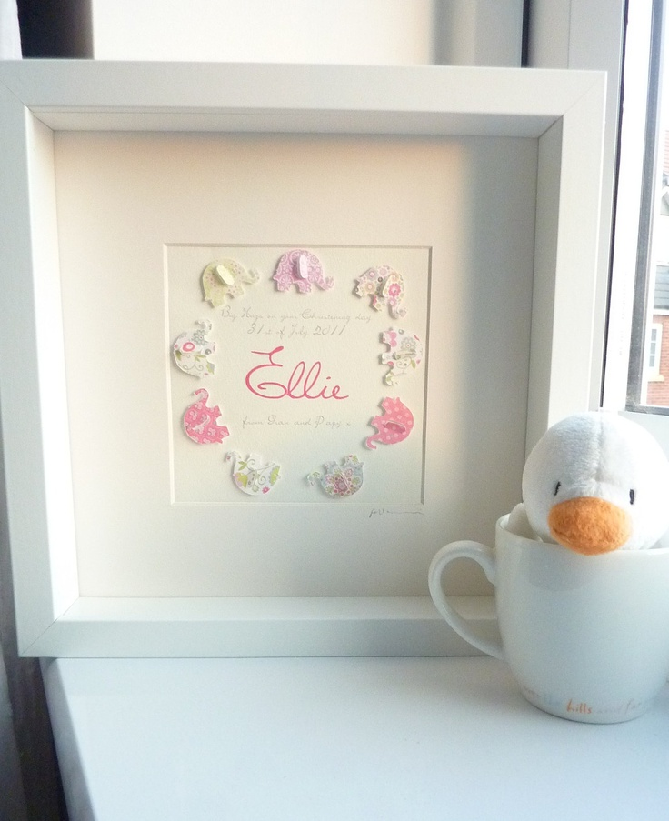 3D Paper Art Elephant Personalized baby girl gift by Pepperbuttons, $39.00
