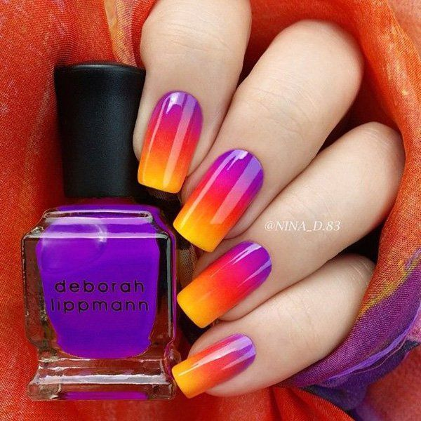 Violet to Yellow Gradient Nail Design