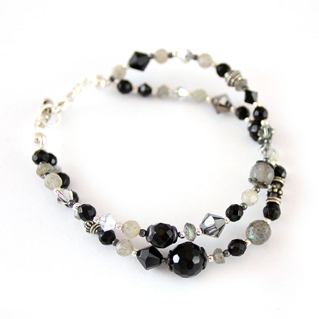 Labradorite, black onyx and Swarovski crystals.