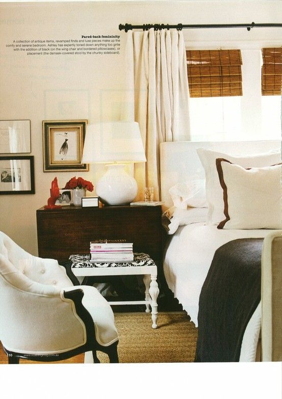 Ashley Edwards, Domino: Idea, Curtains, Beds, Bamboo Shades, White Bedrooms, Master Bedrooms, Window Treatments, Bamboo Blinds, Design