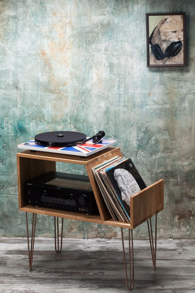 Record Player Stand, Record Player Cabinet, Media Console, Turntable Stand