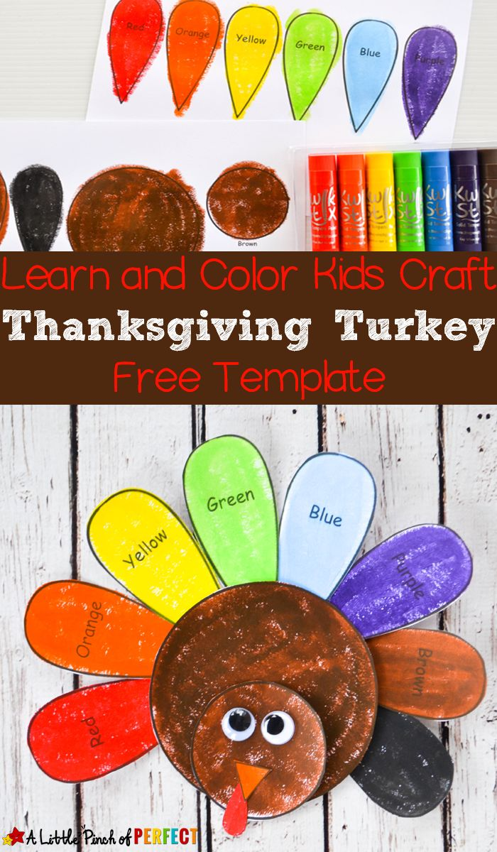 Good November Craft Ideas For Kids Part - 3: Learn And Color Thanksgiving Turkey Craft And Free Template For Kids: Free  Printable Comes In