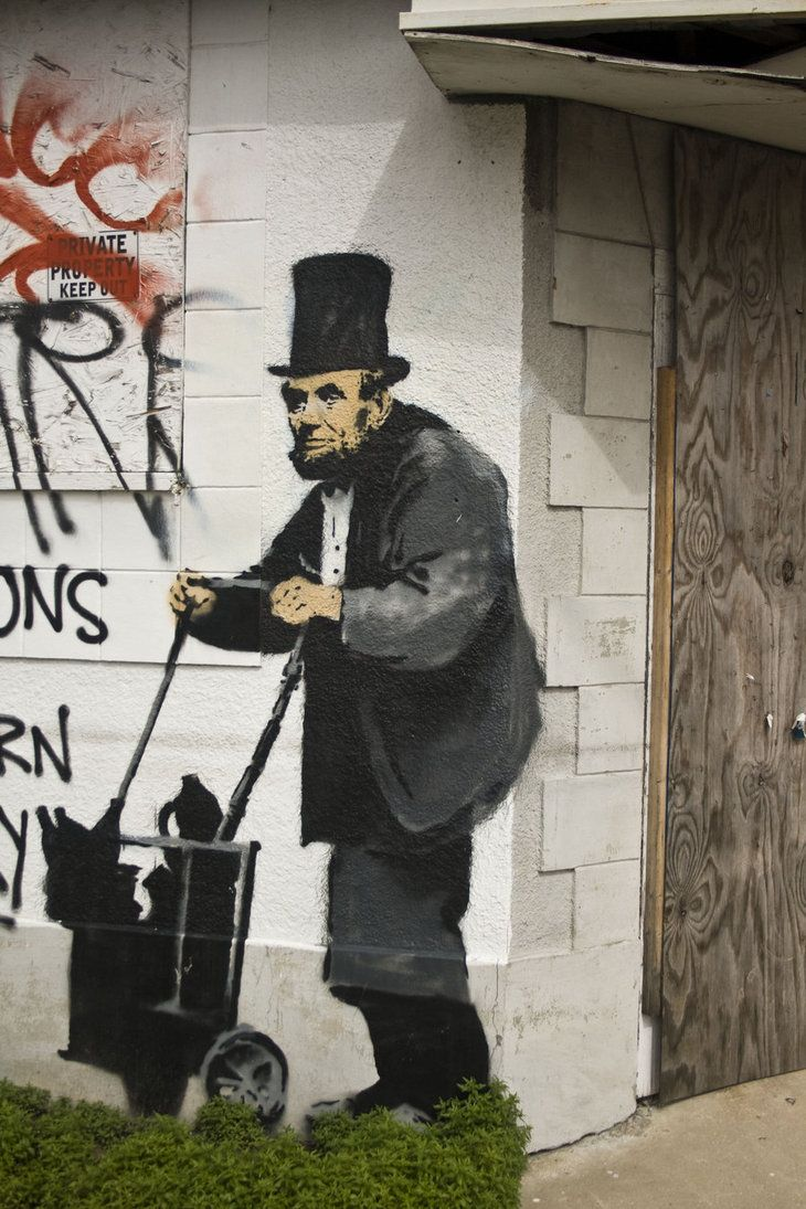 Banksy's art work can be found along the streets, on walls.