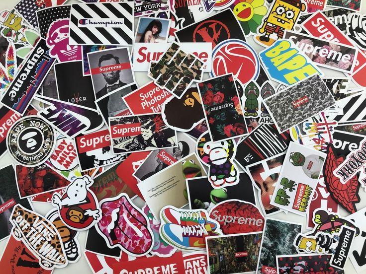 100 random sticker pack hypebeast supreme bape off