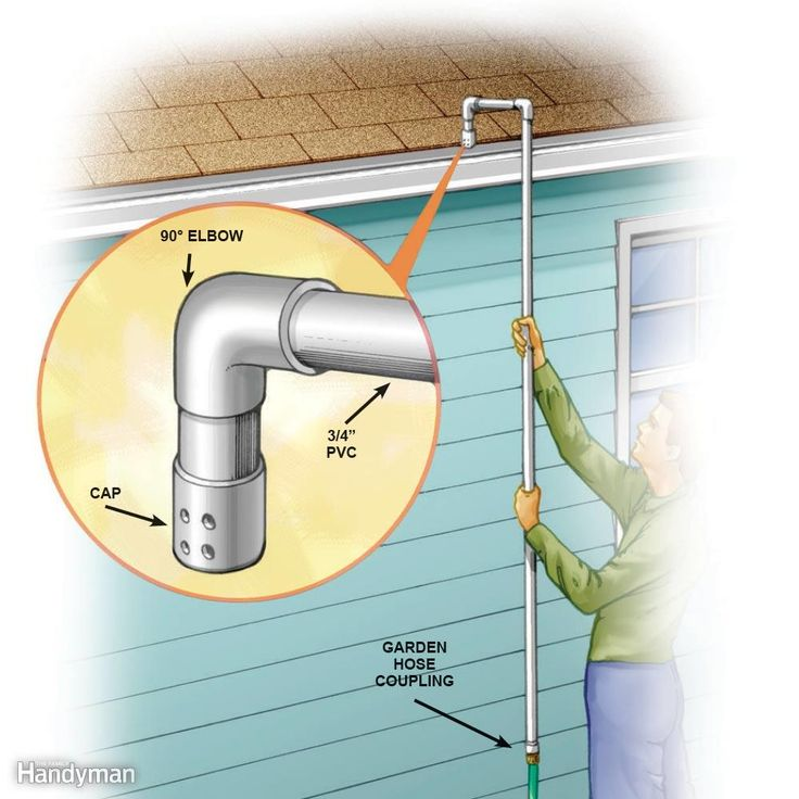No-Ladder Gutter Cleaner - This gutter cleaner is inexpensive, takes about10 minutes to make and will help youavoid ladder climbing. Buy3/4-in. PVC pipe, two elbows, agarden hose coupling and a capat a local home center. Drill1/16-in. holes in the cap asshown. Make the handle longenough to comfortably reachyour gutters, and cement theparts together with PVC glue.