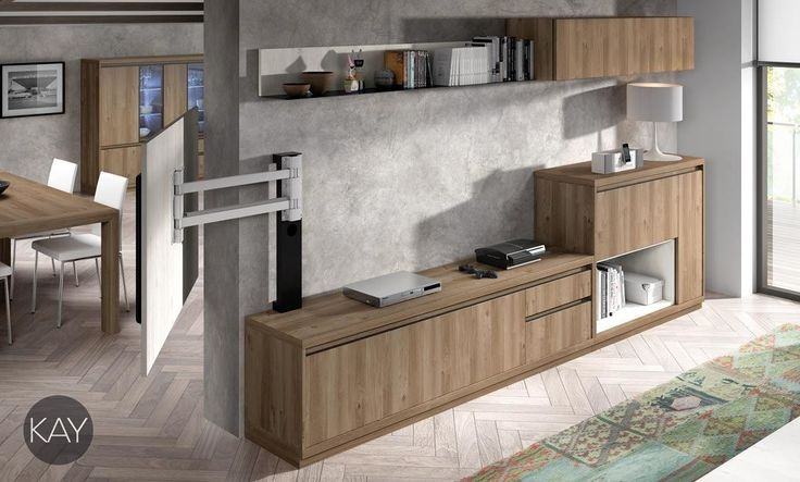 Muebles de salón y comedor con un panel TV giratorio
