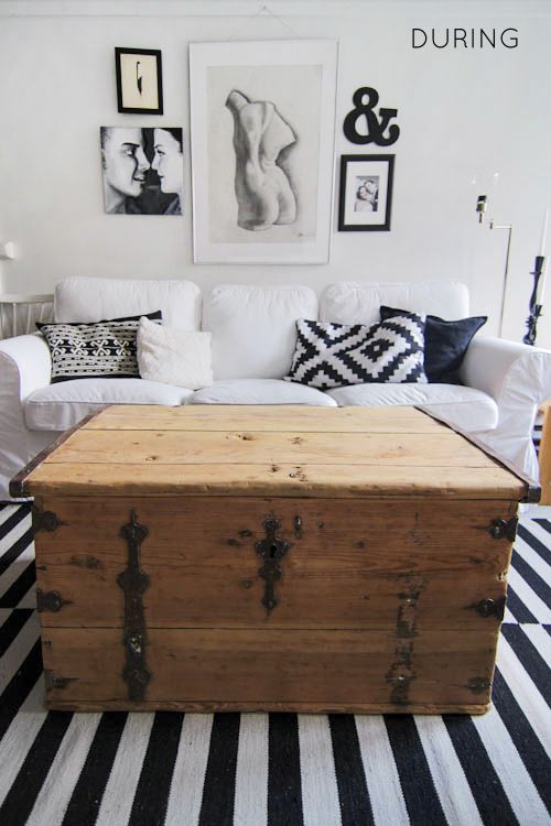Old Wood Trunk | Old wooden trunk makeover, stripping paint, diy