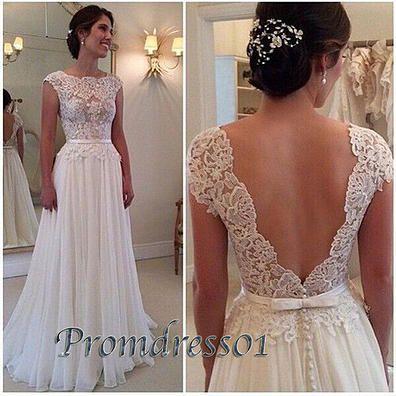 Beautiful open back white lace chiffon long prom dress, ball gown, modest prom dress #coniefox #2016prom
