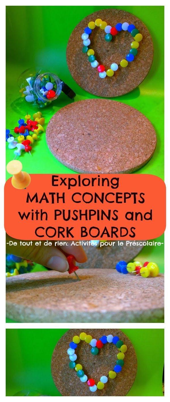 De tout et de rien: Activités pour le Préscolaire: Exploring math concepts and letters with pushpins and cork boards - Explorer des concepts...