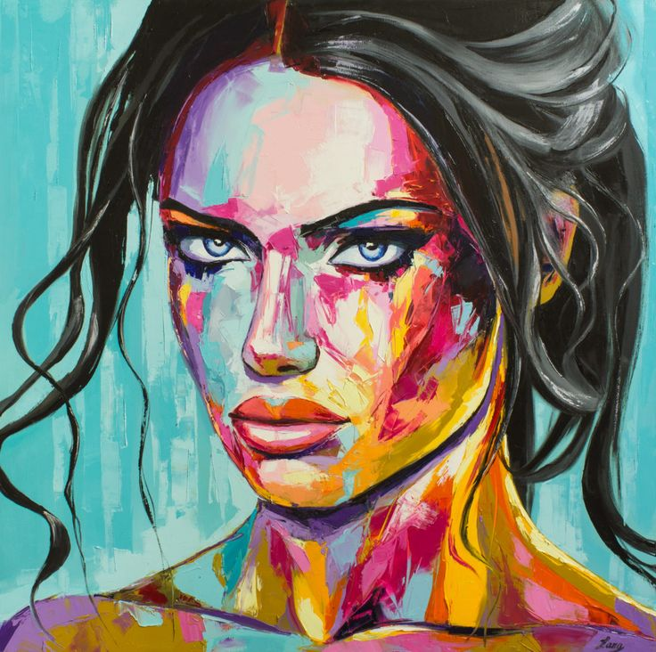FINEARTSEEN - View Sulky by Lana. A beautiful original portrait painting in a contemporary pop art style. This stunning painting is full of colour. Available on FineArtSeen - The Home Of Original Art. Enjoy Free Delivery with every order. << Pin For Later >>