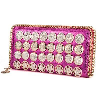 new 2014 women wallets brand wallet rivet clutch leather punk gold buttons purse girl handbag card holder freeshipping
