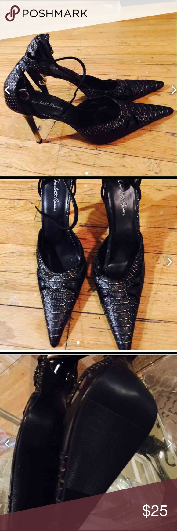 Charlotte rouse snakeskin pumps Black snake skin Patent with an ankle strap . Charlotte Russe Shoes Heels