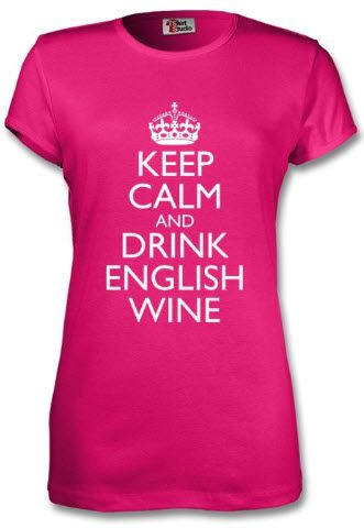 """""""Keep Calm and Drink English Wine"""" - My new t-shirt from http://www.tshirtstudio.com/designs/Classic/keep-calm-round-neck-t-shirt. Colour is great and quality very acceptable - certainly can't quibble for £13. Need to see how it washes, but very pleased so far! They also have hoodies & men's fit t shirts."""