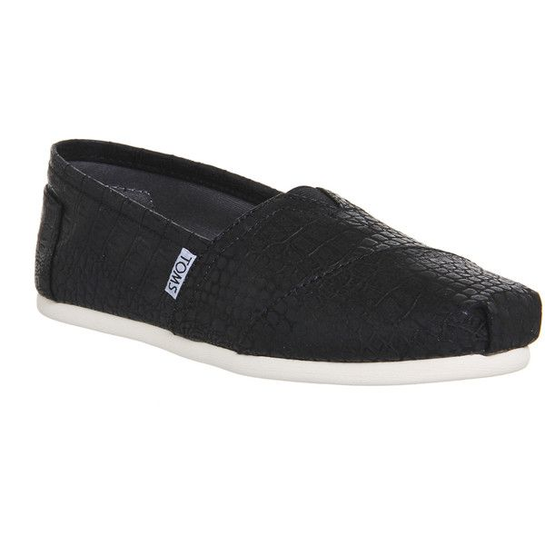 Toms Seasonal Classic Slip On (£42) ❤ liked on Polyvore featuring shoes, flats, black croc emboss, women, espadrille flats, flat shoes, crocs flats, toms espadrilles and black flat shoes